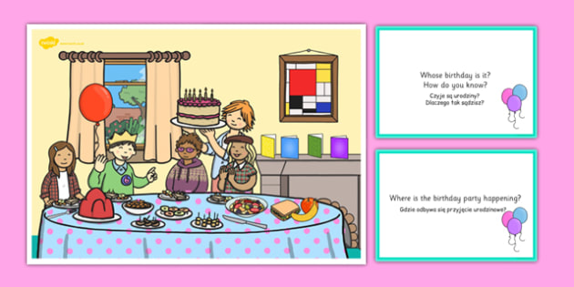 Birthday Party Scene and Question Cards Polish Translation - polish, birthday party, questions, comprehension pack