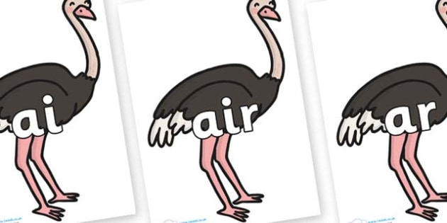 Phase 3 Phonemes on Ostriches - Phonemes, phoneme, Phase 3, Phase three, Foundation, Literacy, Letters and Sounds, DfES, display