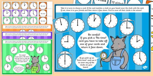 O'Clock Time Bingo and Lotto Game - o'clock, time, bingo, lotto, game, activity