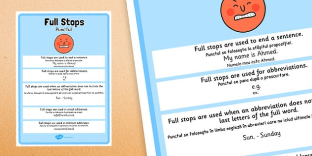 Full Stops Punctuation Poster Romanian Translation - romanian, full stops, punctuation, poster, display
