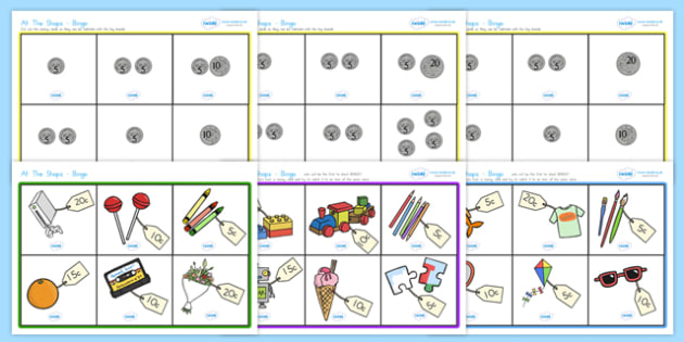 Toy Shop Bingo - toys, toy shop, bingo, lotto, games, class games, coins up to 25c.