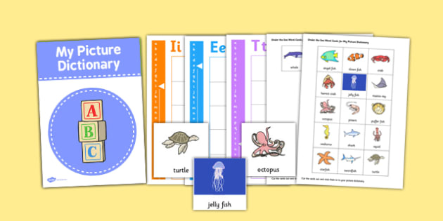 Under the Sea Picture Dictionary and Word Card Set - dictionary