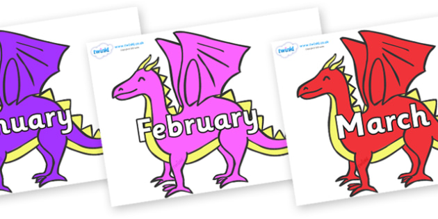 Months of the Year on Dragons - Months of the Year, Months poster, Months display, display, poster, frieze, Months, month, January, February, March, April, May, June, July, August, September