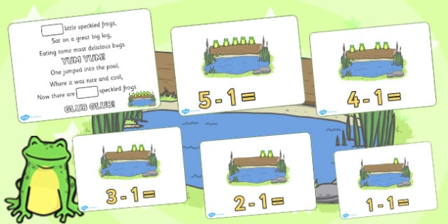 5 Little Speckled Frogs Writing Frames - education, home, free