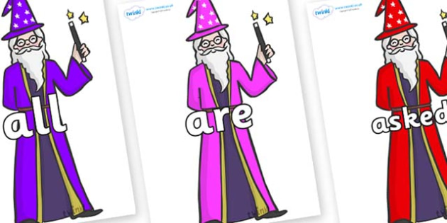 Tricky Words on Wizards - Tricky words, DfES Letters and Sounds, Letters and sounds, display, words