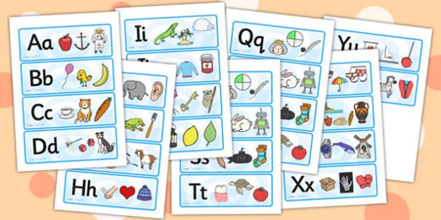 Alphabet Picture Mnemonic Cards - alphabet picture cards, alphabet cards, mnemonic cards, mnemonic, picture cards, word cards, alphabet