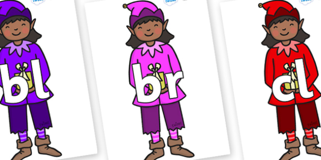 Initial Letter Blends on Girl Elves (Multicolour) - Initial Letters, initial letter, letter blend, letter blends, consonant, consonants, digraph, trigraph, literacy, alphabet, letters, foundation stage literacy