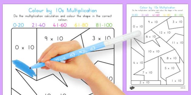 Colour by 10s Multiplication - australia, colour, 10s, multiplication, maths