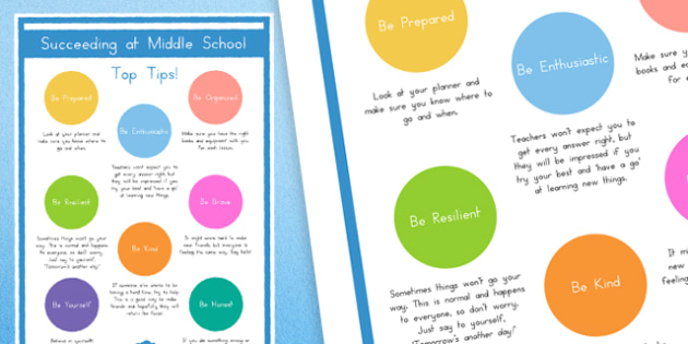 Top Tips for Succeeding at Middle School Display Poster