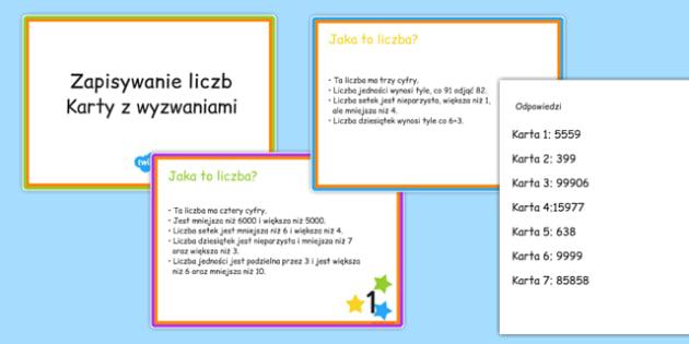 Karty z wyzwaniami Zapisywanie liczb po polsku