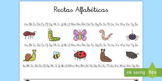 Recta alfabética: Bichos - Bichos, insectos, caligrafía, escritura, escribir,