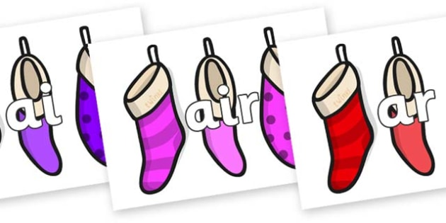Phase 3 Phonemes on Christmas Stockings - Phonemes, phoneme, Phase 3, Phase three, Foundation, Literacy, Letters and Sounds, DfES, display