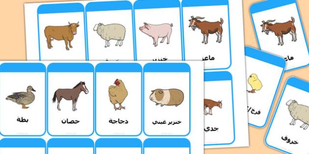بطاقات تعليمية لكلمات عن حيوانات المزرعة وصغارها عربي