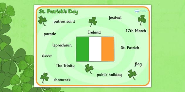 St Patrick's Day Word Mat - St Patricks Day, word mat, writing aid, Ireland, Irish, St Patrick, patron saint, leprechaun, 17 march