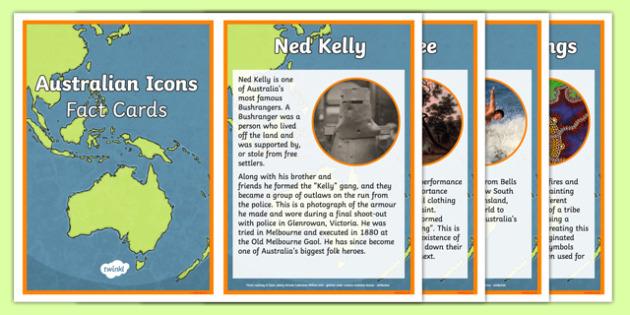 Australian Icon Fact Cards - australia, icon, fact cards, australian icons