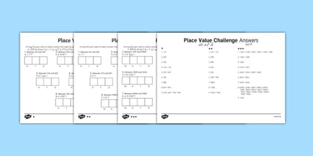Place Value Challenge Activity Sheet Urdu Translation - urdu, place value, place value worksheet, ks2 maths worksheet, place value challenges, work with place values, make the number
