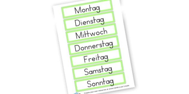 German Days of the Week Cards - German Literacy Primary Resources,German,Languages,Literacy,Words