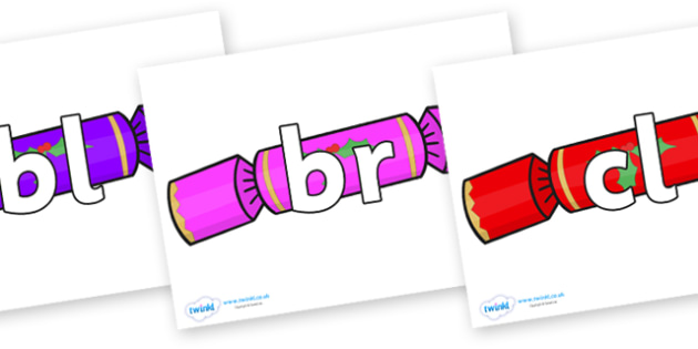Initial Letter Blends on Multicoloured Crackers - Initial Letters, initial letter, letter blend, letter blends, consonant, consonants, digraph, trigraph, literacy, alphabet, letters, foundation stage literacy