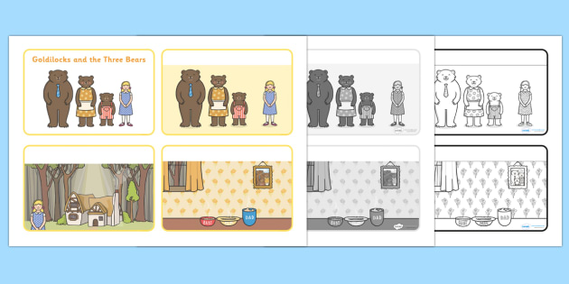 Goldilocks and the Three Bears Sequencing (4 per A4) - Goldilocks, sequencing, traditional tales, tale, fairy tale, three bears, porridge, cottage, beds