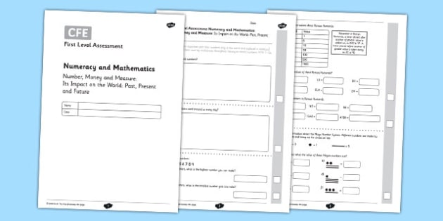 First Level Assessment: Number, Money and Measure - Impact On The World - CfE, numeracy, impact on the world, numbers in the environment, number systems, Roman numerals, Mayan numbers, assessment