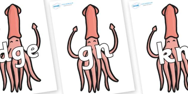Silent Letters on Squids - Silent Letters, silent letter, letter blend, consonant, consonants, digraph, trigraph, A-Z letters, literacy, alphabet, letters, alternative sounds