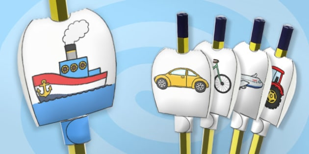 Transport Themed Pencil Toppers - paper, pencil, tops, puppet