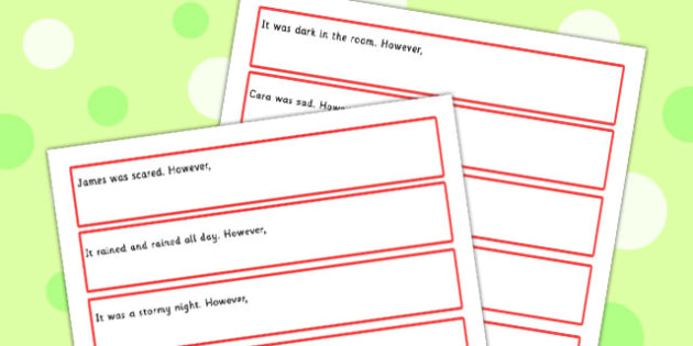 Sentence Starters With However Complete The Sentence Activity