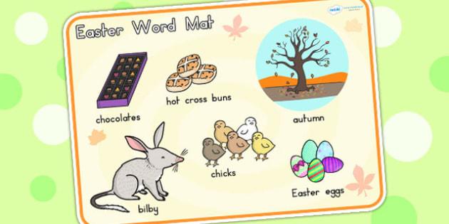Easter Word Mat - easter, religion, RE, word mat, keywords, egg