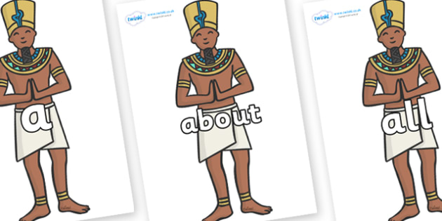 100 High Frequency Words on Egyptian Priests - High frequency words, hfw, DfES Letters and Sounds, Letters and Sounds, display words