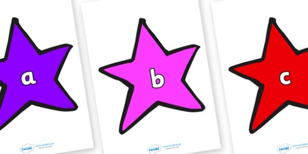 Phase 2 Phonemes on Stars (Multicolour) - Phonemes, phoneme, Phase 2, Phase two, Foundation, Literacy, Letters and Sounds, DfES, display