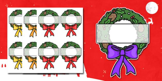 Christmas Editable Self Registration Wreath - self registration, self-registration, editable, editable labels, wreath, editable wreath, display wreath, editable self registration labels, labels, registration, child name label, name label, register