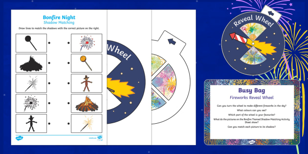 Firework Reveal Wheel Busy Bag Prompt Card and Resource Pack