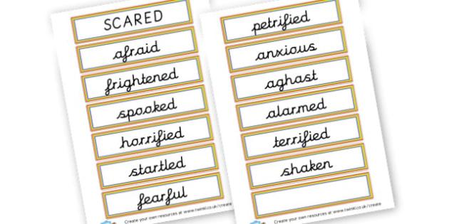 Alternative Words for Scared - Grammar Activity Primary Resources, grammar aids, activities