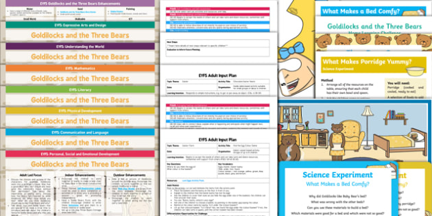 EYFS Goldilocks and the Three Bears Lesson Plan Enhancement Ideas and Resources Pack - Early Years, continuous provision, early years planning, adult led, Goldilocks, bears, traditional tales