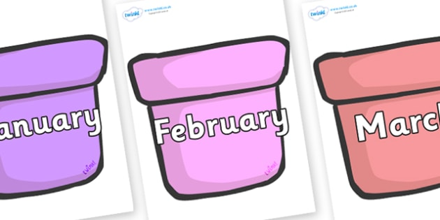 Months of the Year on Plant Pots - Months of the Year, Months poster, Months display, display, poster, frieze, Months, month, January, February, March, April, May, June, July, August, September