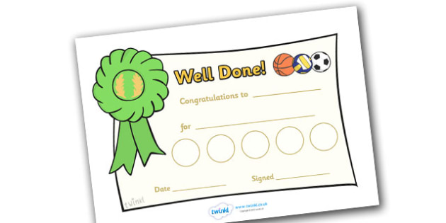 Sport Sticker Reward Certificates (30mm) - Sport Reward Certificate (30mm), reward certificate, certificate, sport, reward, 30mm, stickers, twinkl stickers, award, certificate, well done, behaviour management, behaviour, sport, sports, football, netb