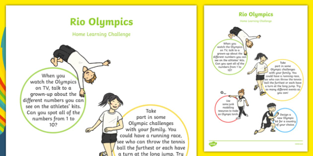 EYFS Rio Olympic Games Home Learning Challenge Sheet Nursery FS1