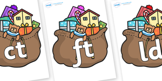 Final Letter Blends on Christmas Presents - Final Letters, final letter, letter blend, letter blends, consonant, consonants, digraph, trigraph, literacy, alphabet, letters, foundation stage literacy