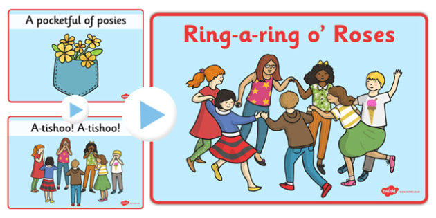 Ring-a-ring O' Roses Song PowerPoint - nursery rhyme, ring, rose