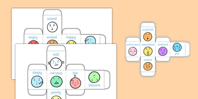 Emotions Dice Nets - emotions, dice net, dice, net, die, feelings, moods