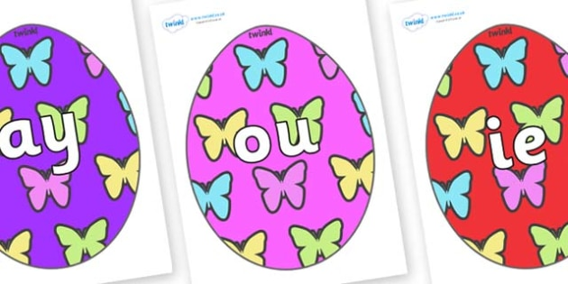 Phase 5 Phonemes on Easter Eggs (Butterflies) - Phonemes, phoneme, Phase 5, Phase five, Foundation, Literacy, Letters and Sounds, DfES, display
