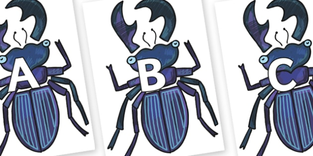 A-Z Alphabet on Stag Beetle to Support Teaching on The Bad Tempered Ladybird - A-Z, A4, display, Alphabet frieze, Display letters, Letter posters, A-Z letters, Alphabet flashcards