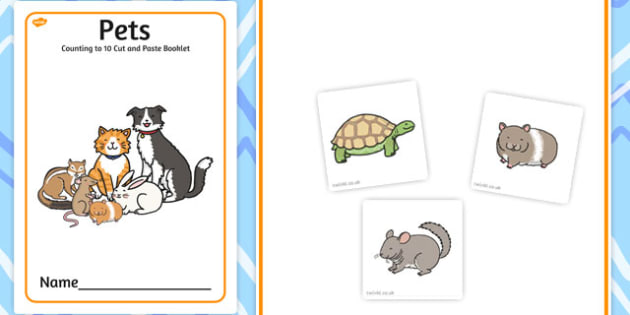 Pets Counting to 10 Cut and Paste Booklet - counting, pets, 10