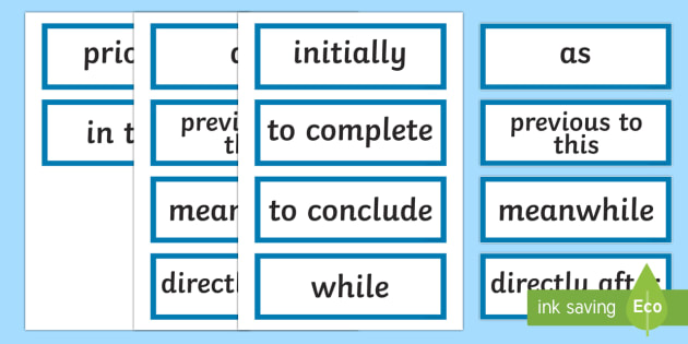 Premise Indicator Words: Stage 3 Procedure Language To Indicate Time Sequence Word