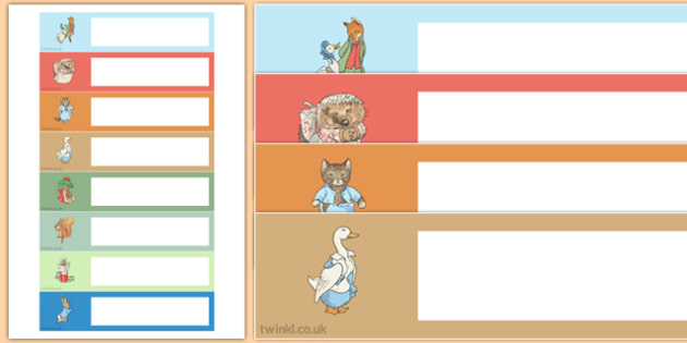 Beatrix Potter Themed Editable Gratnells Tray Labels - beatrix potter, author, gratnells, tray labels
