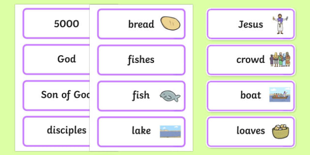 The Loaves And Fishes Word Cards - the Loaves and the Fishes, loaves, fishes, Jesus, food, word card, flashcards, cards, the feeding of the five thousand, crowd, feeding, God, teaching, 5000, people, five loaves