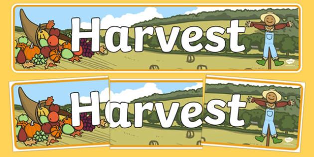 Harvest Display Banner - Display banner, Autumn, seasons,  A4, display, autumn pictures, autumn display, leaves, acorn, conker