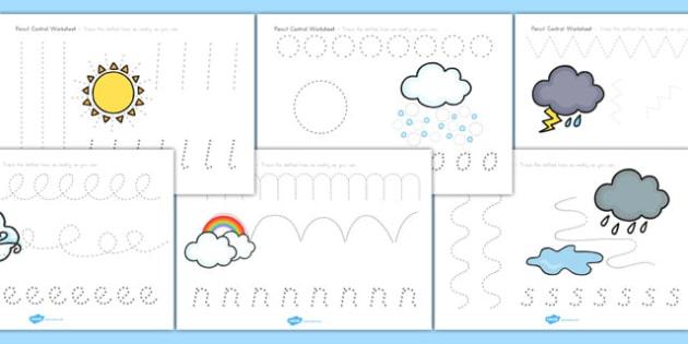 Winter Pencil Control Worksheets - fine motor skills, seasons