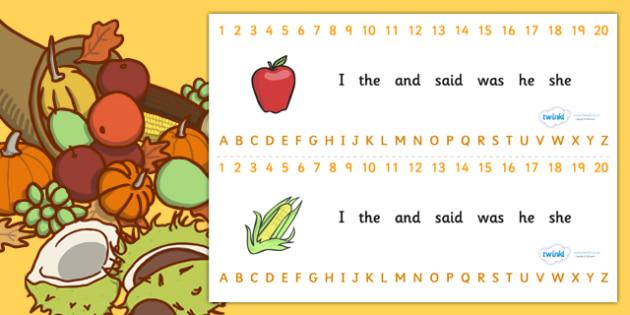 Combined Alphabet and Number Strips (Harvest) - Harvest, Alphabet, Numbers, Writing aid, harvest festival, fruit, apple, pear, orange, wheat, bread, grain, leaves, conker