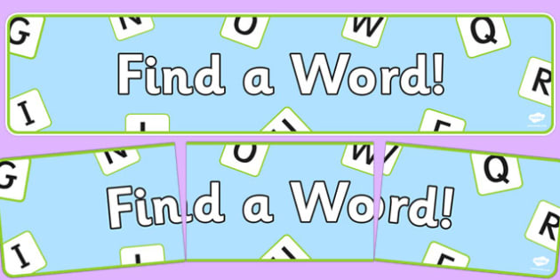 Word Game Display Pack Find a Word Display Banner - word game